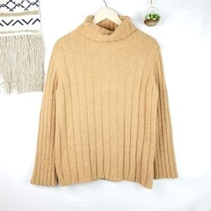 Express   Tan Ribbed Cowl Neck Long Sleeve Sweater